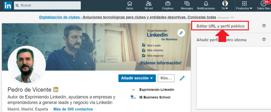 url perfil Linkedin dónde encontrarla