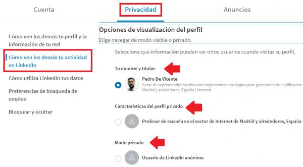 Linkedin Premium privacidad perfil