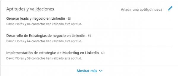 Perfil Linkedin Aptitudes y validaciones