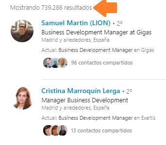 Análisis de red vía búsqueda avanzada en Linkedin 2