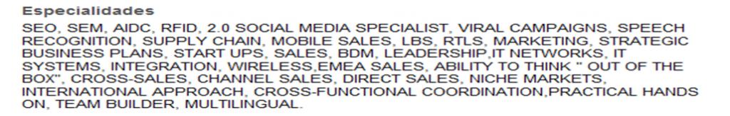 especialidades linkedin