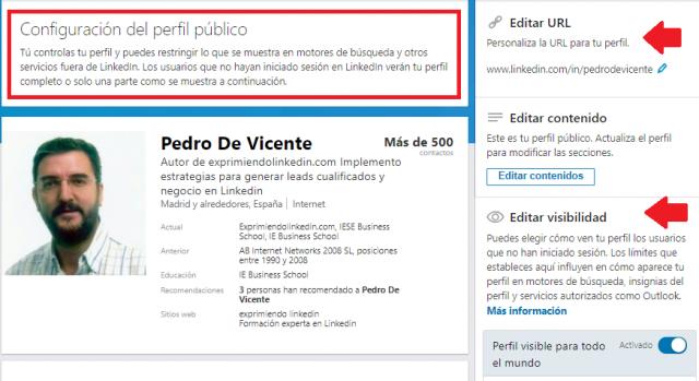 Cómo configurar Linkedin Configuración del perfil público