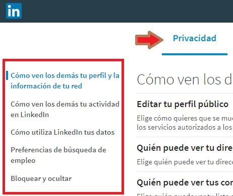 Cómo configurar Linkedin opciones de Privacidad