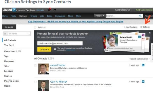Nueva opción contactos Linkedin