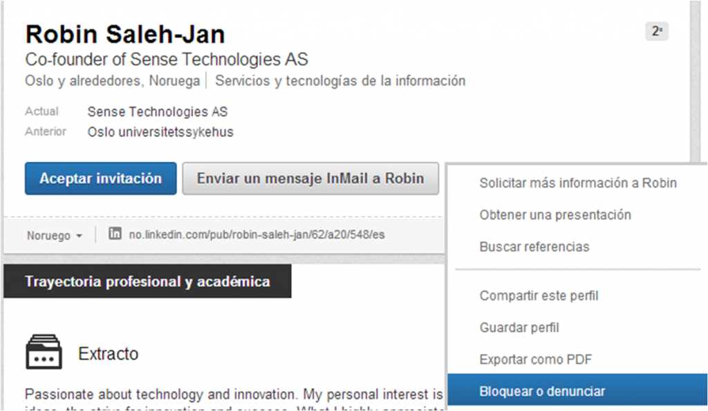 Opción Bloquear contactos en Linkedin