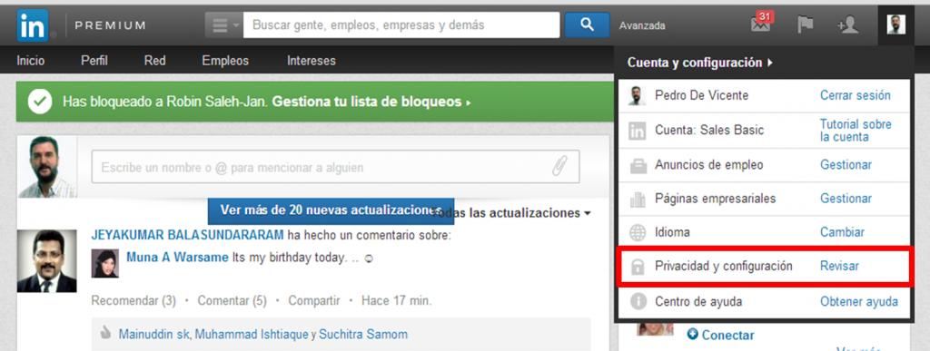 Desbloquear contactos en Linkedin