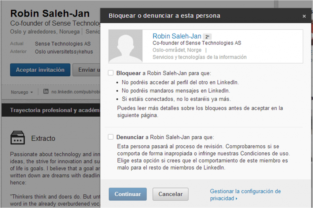 Bloquear contactos profesionales Linkedin