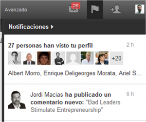 Linkedin influencers en notificaciones