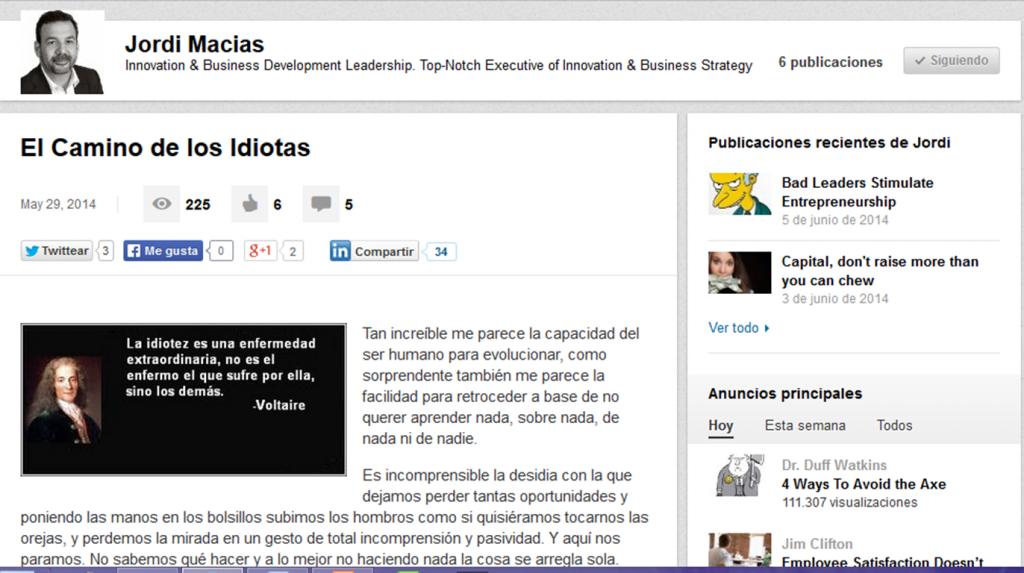 Plataforma blogging Linkedin