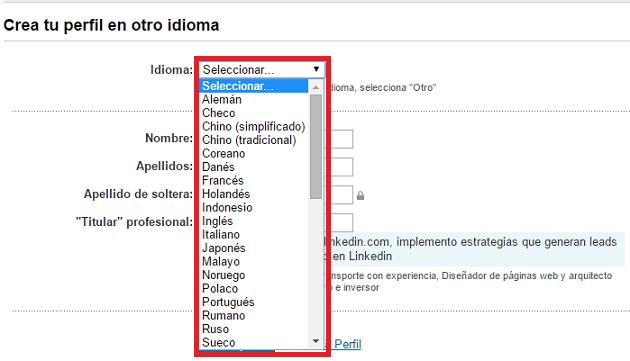 Crear el perfil Linkedin en diferentes Idiomas
