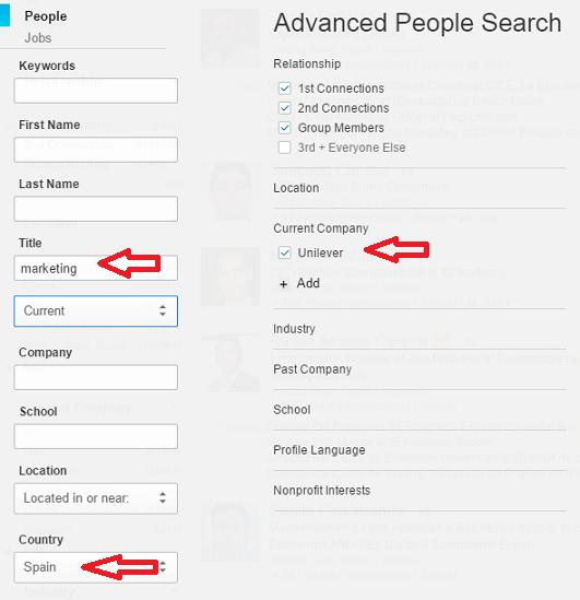 Linkedin, Nivel de Interlocución en empresa Objetivo