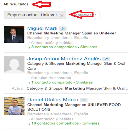 Contactos Linkedin en Unilever