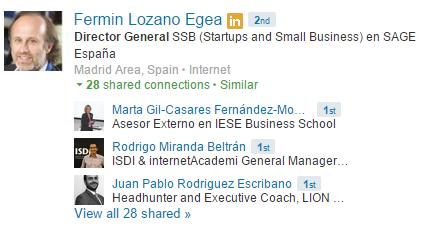 Contactos comunes en LinkedIn