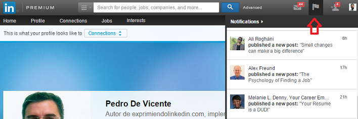 Notificaciones a seguidores en Linkedin