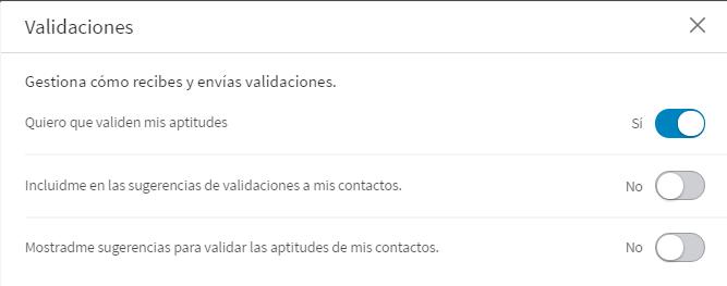 Configuración Aptitudes y Validaciones nuevo perfil Linkedin