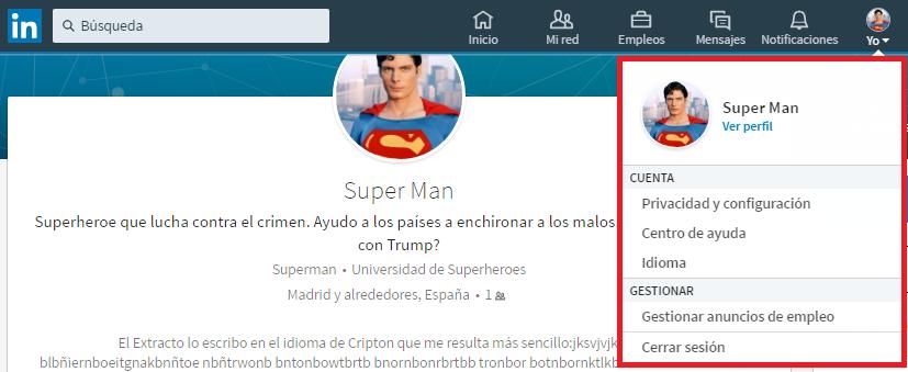 Configuración y centro de ayuda nuevo perfil Linkedin