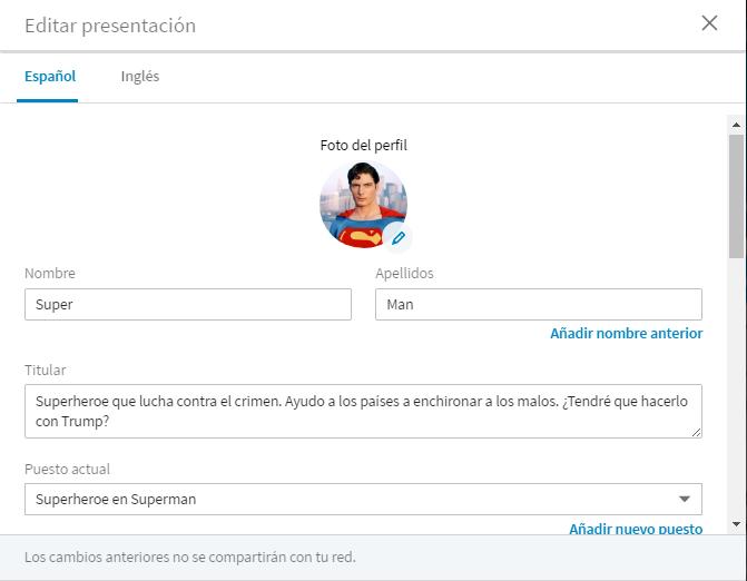 Cambios en el perfil Linkedin 3