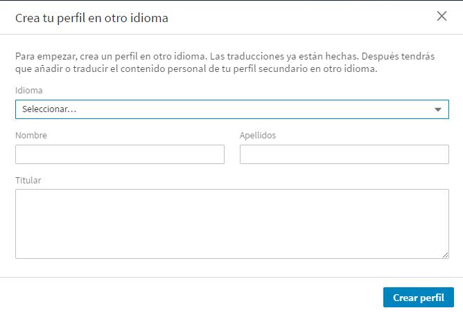 crear perfil otro idioma perfil linkedin nuevo subpantalla