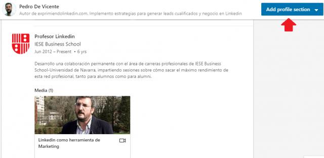 Mejoras en el perfil Linkedin añade secciones 2