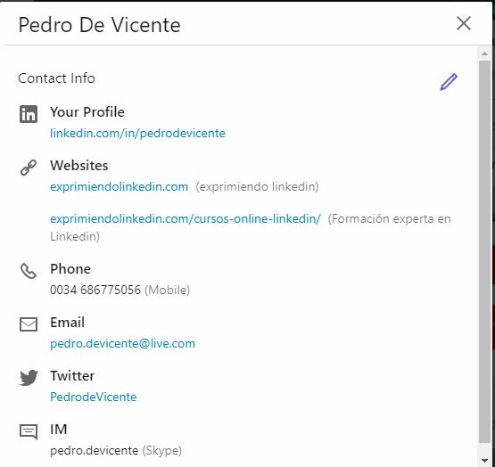 Mejoras en el perfil Linkedin contact info