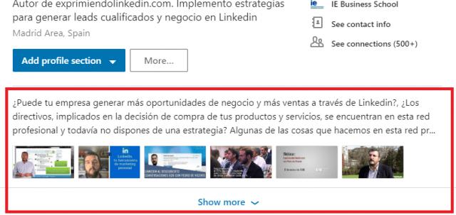 Mejoras en el perfil Linkedin Extracto