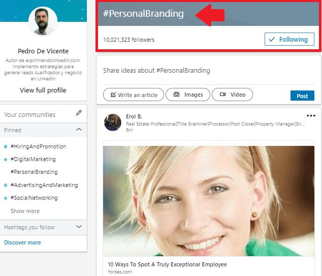 Mejoras en el perfil Linkedin uso de hashtags 2