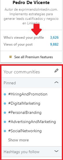 Mejoras en el perfil Linkedin uso de hashtags