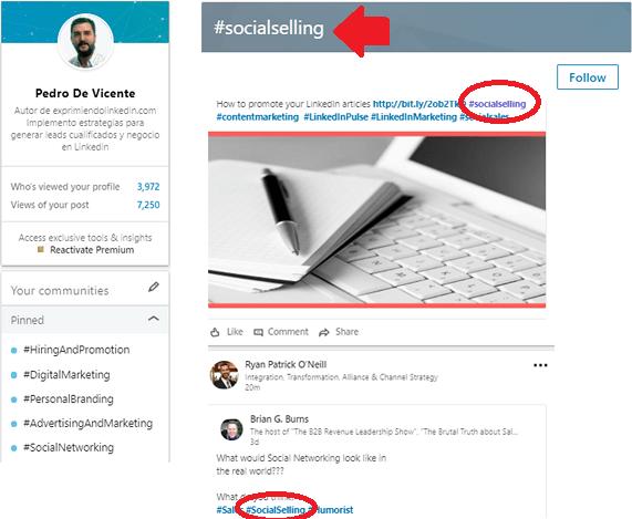los hashtags en Linkedin 3