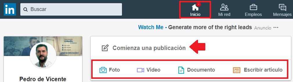 Perfil Linkedin - Caja de actualización