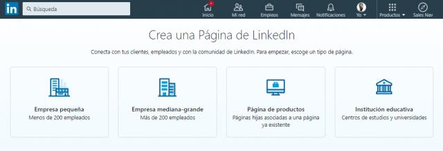 Tipo de página empresa Linkedin