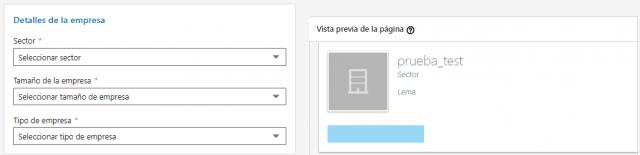 Página de empresa en Linkedin Detalles de la empresa