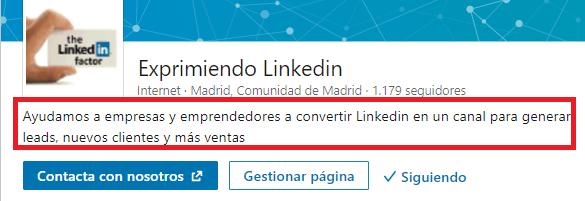 La página de empresa en Linkedin El lema