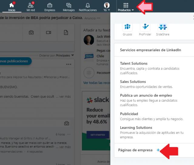 Botón para Crear la página de empresa en Linkedin