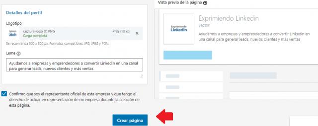 Crear la página empresa Linkedin confirmar