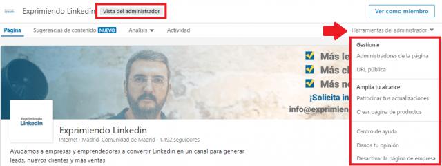 La página de empresa en Linkedin - Herramientas de administrador