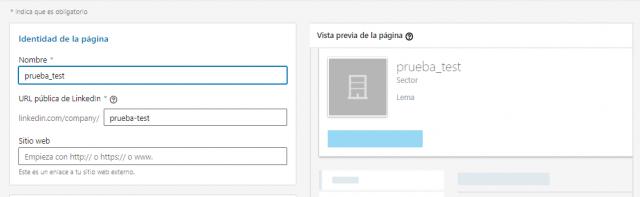 Página de empresa en Linkedin Identidad de la página