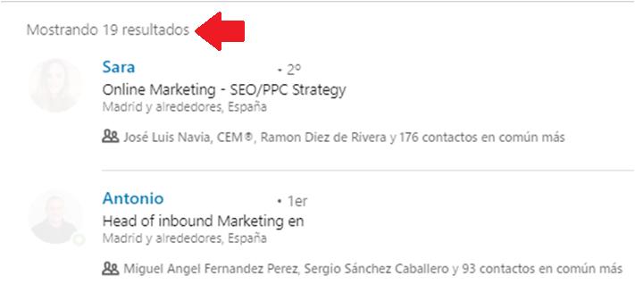 Linkedin gestión contactos - el filtro contacto de 6