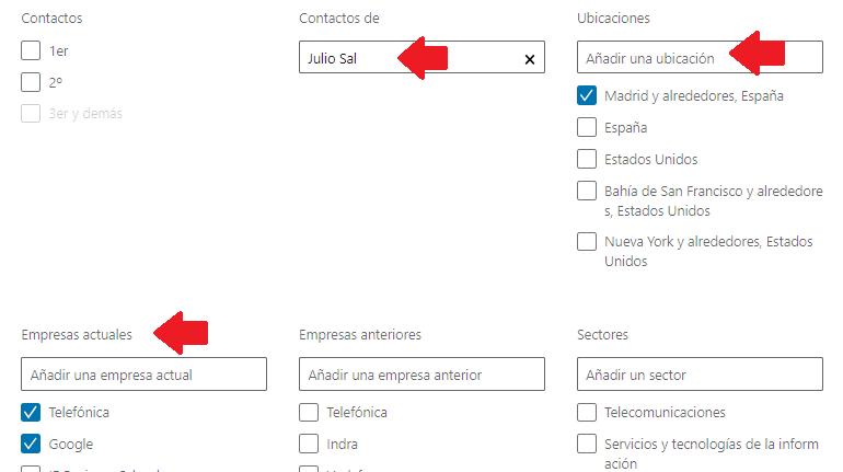 Linkedin gestión contactos - el filtro contacto de 8