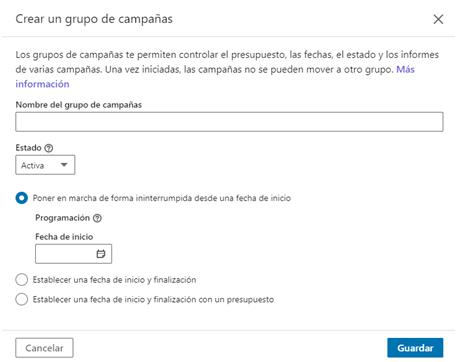 Linkedin ads - crear GRUPO campañas