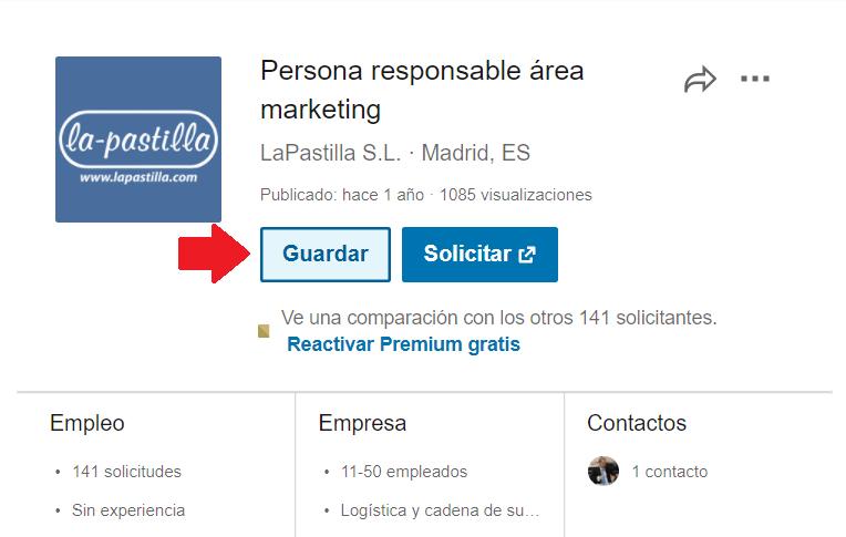 Linkedin empleos Guardados