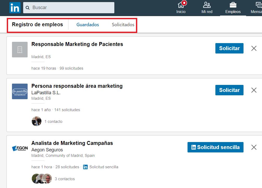 Linkedin empleos empleos guardados 2