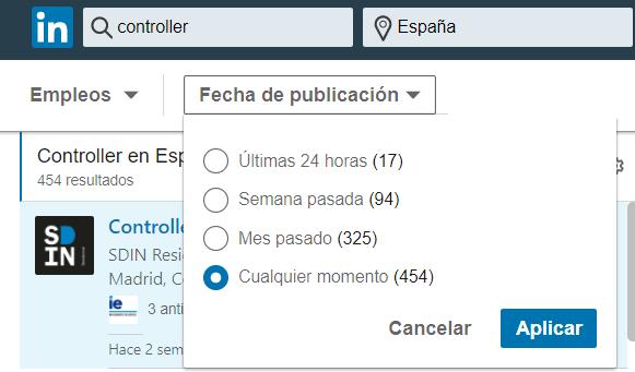 Linkedin empleos fecha publicación