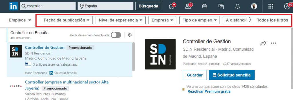 Linkedin empleos filtros de búsqueda