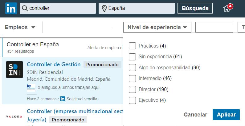 Linkedin empleos nivel de experiencia