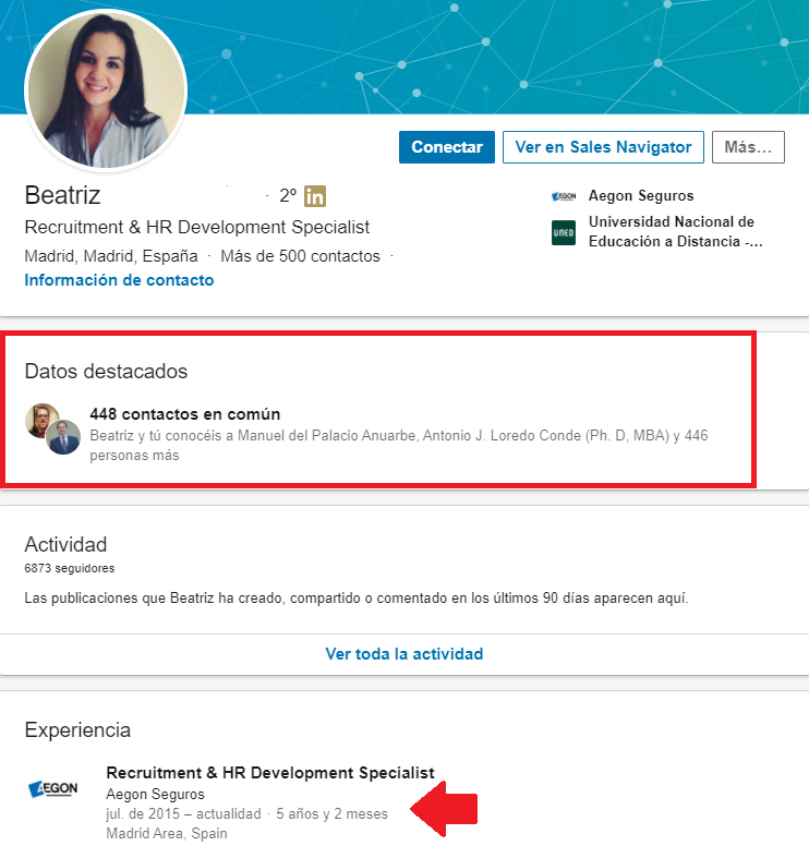 Linkedin empleos reclutador
