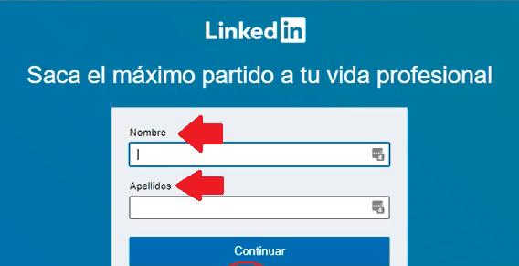 Crear cuenta en Linkedin - Nombre y apellido