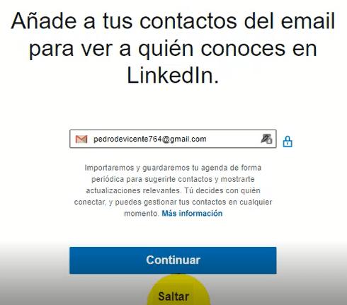 Crear cuenta en Linkedin - añadir contactos