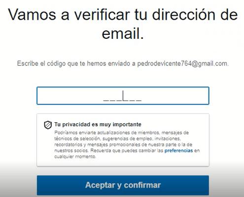 Crear cuenta en Linkedin - verificar correo electrónico
