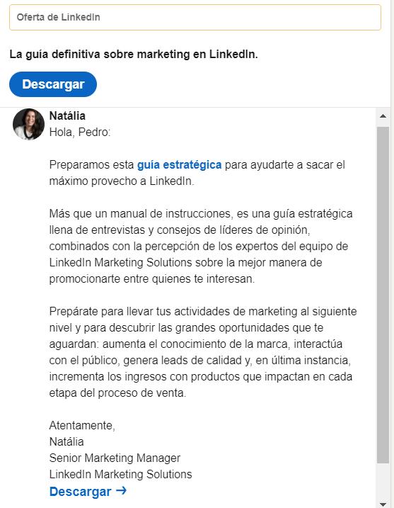 Anuncios de mensajes Inmail en Linkedin