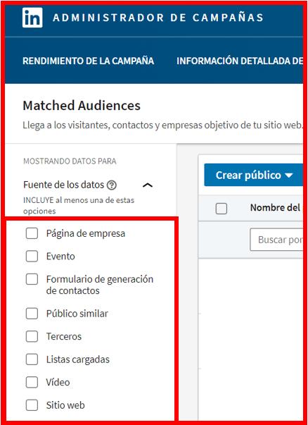 Linkedin Insight Tag - Otros públicos personalizados